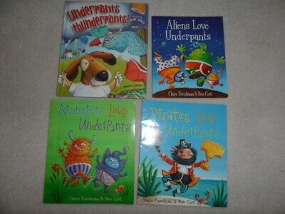 Lot 4 Monsters Pirates Love Underpants Thunderpants One Big Pair Underwear