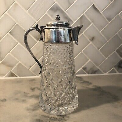 Antique Small Lidded Syrup Pitcher Silver Plate Cut Glass