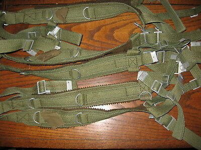 lot of 3 Polish Army green web suspenders nos military surplus