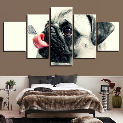 Framed Cute Dog Pugs Butterfly Canvas Poster Print Painting Wall Art Home Decor