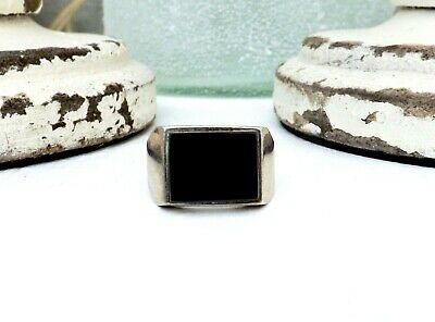 Old Mexico Sterling Silver 925 Taxco Onyx Signet Biker Mens Size 11 1/2 Ring