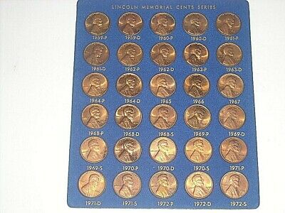 1959-1972-S Lincoln Memorial Cents Series P & D 30 Coin Unc Set Free Shipping