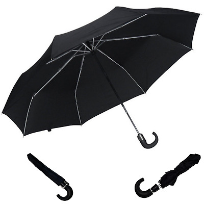 Portable Automatic Folding Umbrella Windproof Compact Travel - Black