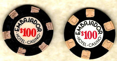 2 $100 casino chips Embajador Hotel, Dominican Republic, Paulson and Ewing molds