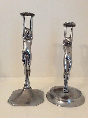 art deco CHROME DIANA LAMP BASE two different ladies