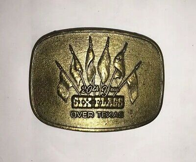 Six Flags Over Texas 20th Year 1981 Belt Buckle Vintage 80's Commemorative