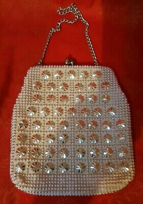 Vintage Evening Purse Styled By Lanza  Handmade White And Silver Flower Beading