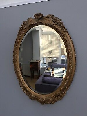 Antique Victorian Bevelled Mirror Carved Gilt Wood Gesso Old Ornate 19th Century