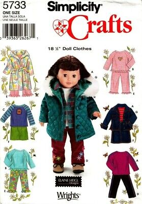 """Simplicity Sewing Pattern 5733 Doll Clothes One Size for 18"""" (45.5cm) Doll New"""