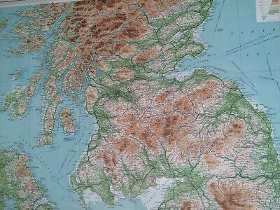 1922 Scotland (Southern) Large Original Antique Map Britain UK Physical