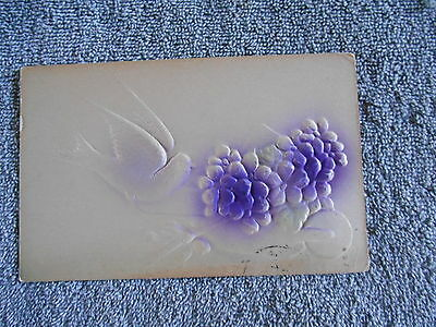 Vintage - Post Card - Dove And Purple Flowers / 1911