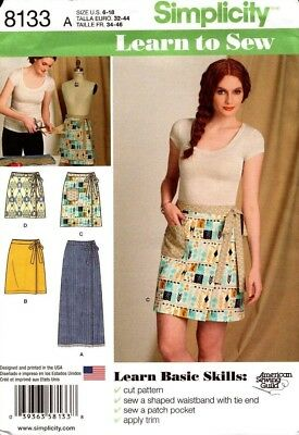Simplicity Sewing Pattern 8133 Learn to Sew Wrap Skirts in Ladies Sizes 6-18