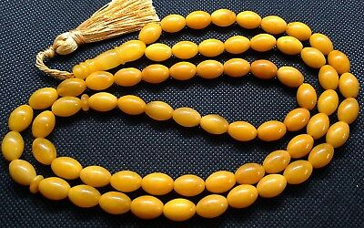 ANTIQUE 13x9mm 41 gr. GENUINE BALTIC AMBER ISLAMIC 66 OLIVE PRAYER BEADS ROSARY