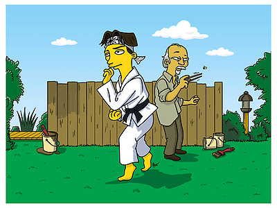 2014 The Karate Kid Simpsons Giclee Fine Art Print 14 Movie Poster #/40 Mint