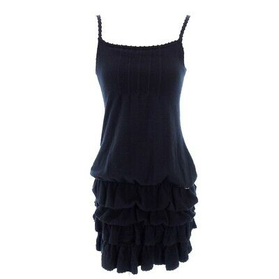 Authentic CHANEL 07A Wool Knit Frill Balloon Camisole Dress Size 34 Rank AB