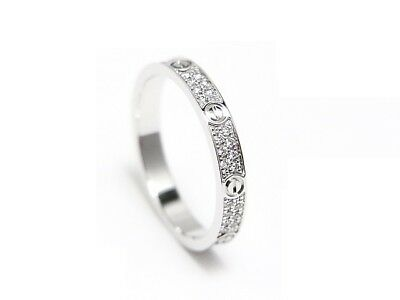 02ab160b4ac4b AUTHENTIC CARTIER LOVE Ring SM Pavé Diamond K18WG 750 White Gold Size47 JP7  US4