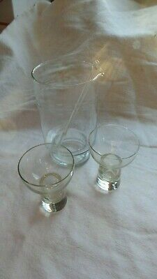 Vintage Small Etched Glass Martini Pitcher with Spout with Stirrer and 2 Glasses