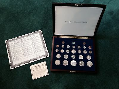 Coin Collection Of 20th Century.. 27 Genuine U.S. Mint Coins- Wooden Case...COA