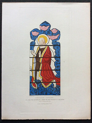 St John Evangelist, Winchester Cathedral Stained Glass, Owen Carter, orig c1844