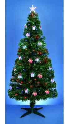 Pre Decorated Light Up Christmas Tree with Red, Green & Blue Parcels