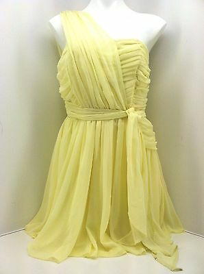 TOPSHOP KATE MOSS COLLECTION YELLOW ONE SHOULDER CHIFFON PROM DRESS 16 44 12 £85