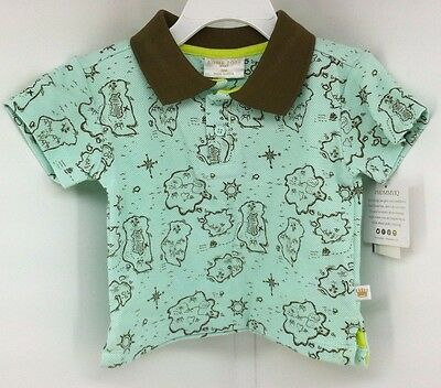 Rosie Pope Baby Printed Polo Shirt Teal Brown, Baby boy Size 12M 12 Mos