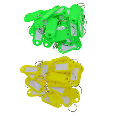 100x Key Ring Tags Plastic mixed Name Label Id Keys Tag Luggage Fob Ring