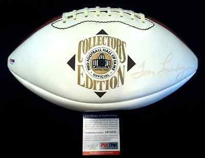 TOM LANDRY, Dallas Cowboys HOF coach, single signed Hall of Fame Football w/ PSA