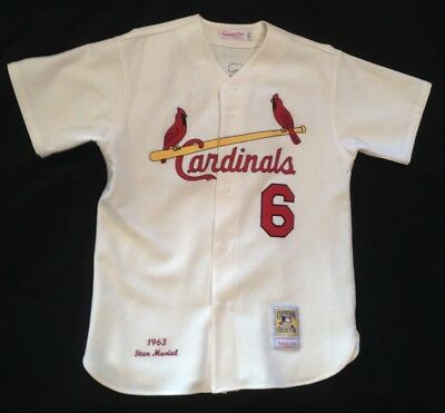 St. Louis Cardinals STAN MUSIAL Mitchell & Ness Cream Authentic Jersey, size XL