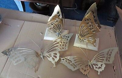 Four 4 Solid Brass Butterflies Vintage Japan Decor 2 on Stands 2 Wall Hanging