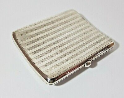SOLID STERLING SILVER CURVED CIGARETTE CASE HENRY WILLIAMSON 1915 80 gms