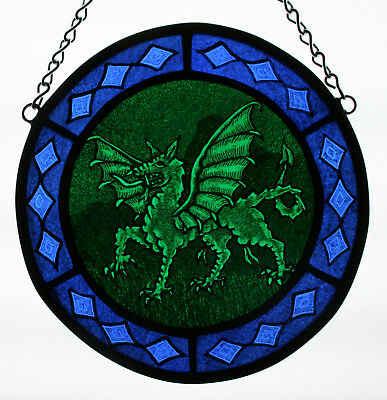 Stained Glass,Hand Painted,Kiln Fired, Green Dragon. #2601-07