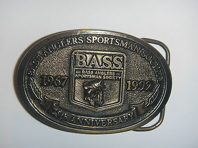 Belt Buckle Bass 25th Anniversary 1967 1992 Brass Anglers Sportsman Vintage