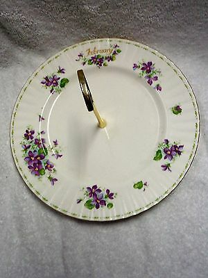 Royal Albert Flower of the Month February Plate Gold-Colored Handle Tidbit Tray