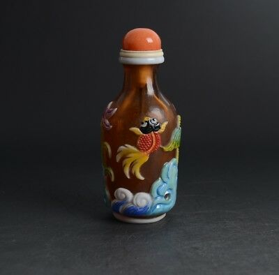 Chinese Carved Goldfishs Lotus Overlay Brown Colour Glass Snuff Bottle-JR11703