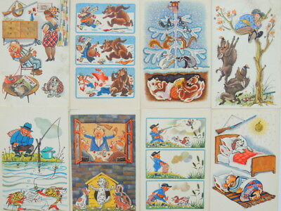 1968 Lot of 13 Humor Vintage Russian Soviet USSR CCCP Postcard Great Condition