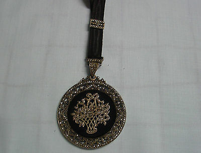 Vintage Art Deco silver marcasite and black onyx French pendant with ribbon RARE