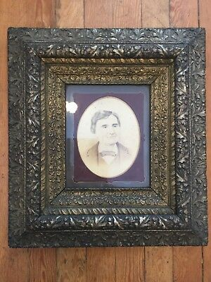One Antique Ornate Wooden Gesso Silver Gilt Frame w Nice Matte Male Portrait