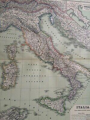 1892 Italy Ancient History Large Original Antique Map Athens Classical Map