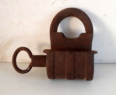 19's Antique Old Iron Handcrafted Unique Shape Indian Screw Pad Lock Rich Patina