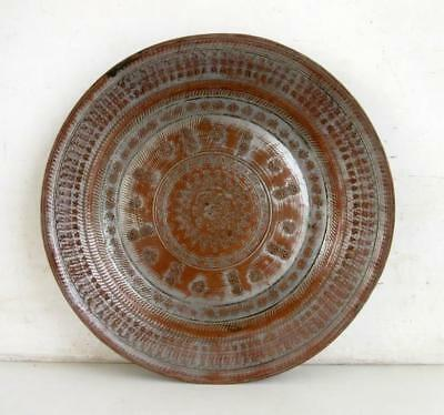 Antique Old Copper Indian Primitive Tribal Hand Carving Work Food Tray Plate