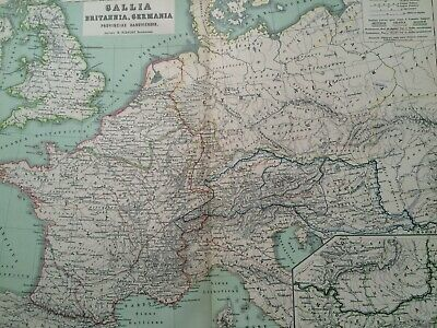 1892 France Britain Germany Large Original Antique Map Classic Ancient History