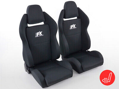 FK sport half bucket seats Set Race 5 with heating Black Fabric VW Audi Skoda