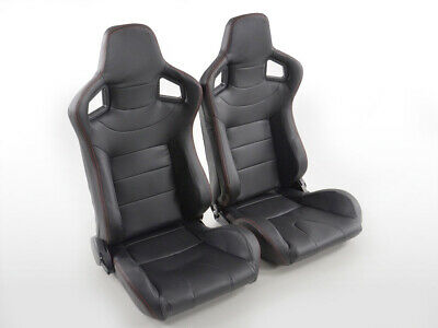Pair Front Car Sports Seats Halbschalensitz Carbon faux leather black VW Audi