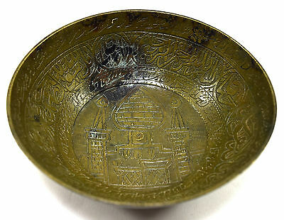 Rare Antique Old Talisman Islamic Medicine Calligraphy Brass Bowl. G3-14 US