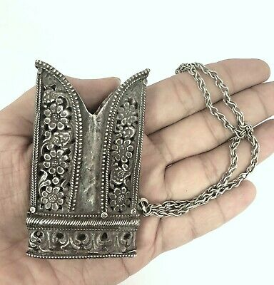 Indo Persian Mughal Islamic Real Silver Sword Scabbard Locket Jali Cut.G10-46 US