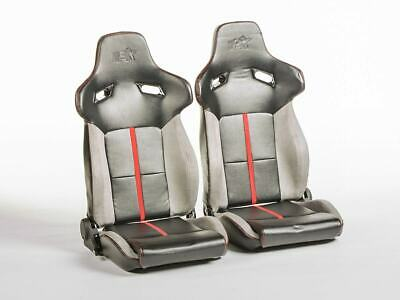 FK sport half bucket seats Set Berlin faux leather black & grey VW Audi Skoda