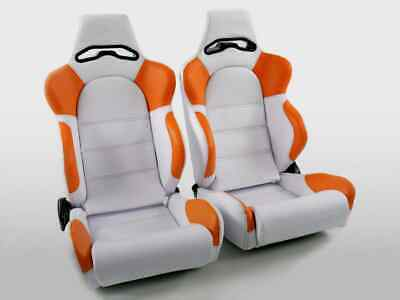 Pair Front Car Sports Bucket Seats Edition 1 faux leather white & orange VW Audi