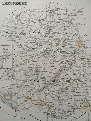 1845 Shropshire Original Antique Engraved Map UK County Vintage England