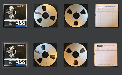 """Ampex 456 10.5"""" Reel with 1/4"""" NEW Magnetic Recording Tape w/ Storage Box Pair"""